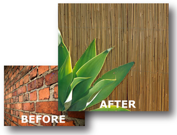 Bamboo Fencing On Brick, Block or Concrete Overlay